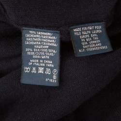 Ralph Lauren Navy Blue Cashmere and Silk Knit Polo Midi Dress XS