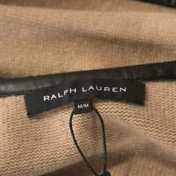 Ralph Lauren Beige Cashmere Knit Leather Trim Cardigan M
