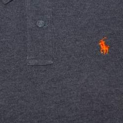Ralph Lauren Grey Cotton Pique Skinny Polo T-Shirt S
