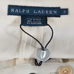 Ralph Lauren Cream Cotton Suede Patched Slim Fit Pants S