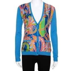 Ralph Lauren Blue Cashmere Paisley Print Silk Overlay Cardigan S