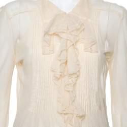 Ralph Lauren Cream Tulle Ruffle Detail Button Front Top M