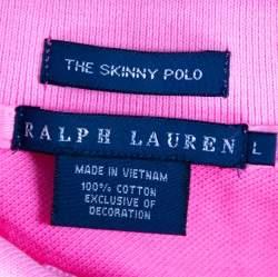 Ralph Lauren Neon Pink Cotton Pique Skinny Polo T-Shirt L