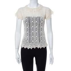 Ralph Lauren Cream Crochet Hand Knit Sheer Top M
