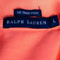 Ralph Lauren Neon Orange Cotton Pique Skinny Polo T-Shirt L