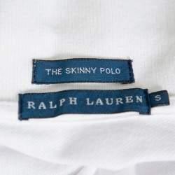 Ralph Lauren White Cotton Pique Skinny Polo T-Shirt S