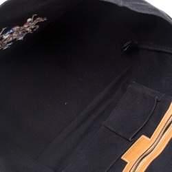 Ralph Lauren Black/Brown Leather Canvas Shopper Tote