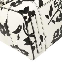 Ralph Lauren White/Black Floral Print Soft Leather Ricky Tote