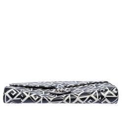Ralph Lauren Black/White Greek Keys Print Leather Ricky Clutch