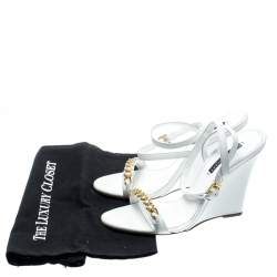Ralph Lauren White Leather Chain Detail Ankle Wrap Wedge Sandals Size 40