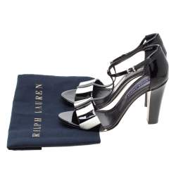 Ralph Lauren Monochrome Stripes Patent Leather T-Strap Sandals Size 40