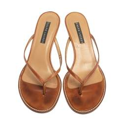 Ralph Lauren Brown Leather Thong Strappy Sandals Size 37
