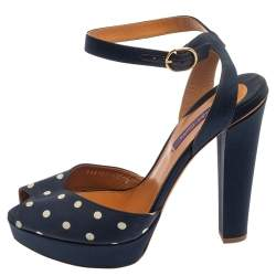 Ralph Lauren Blue Polka Dot Fabric Platform Ankle Strap Sandals Size 40