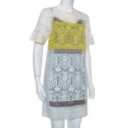Rebecca Taylor Multicolor Lace Sheer Shift Dress S