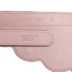 RED Valentino Light Nude Leather Red Waves High-Waisted Belt Size 85 cm