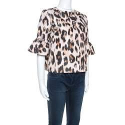 Red Valentino Beige Leopard Print Taffeta Jacket M