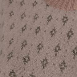 RED Valentino Blush Pink Angora Knit With Lurex Diamonds Jacquard Top Size M