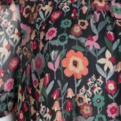 RED Valentino Black Fancy Floral Print Silk Off Shoulder Top S