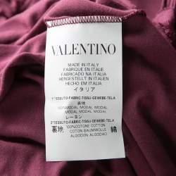 RED Valentino Burgundy Ruffle Detail Short Sleeve Top L