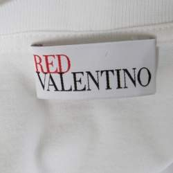 RED Valentino White Cotton Jersey Striped Ruffled Sleeve T-Shirt M