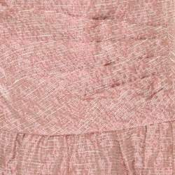 Red Valentino Pink and White Textured Drop Waist Sleeveless Dress M