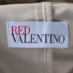 Red Valentino Beige Cotton Twill Eyelet Embroidered Ruffled Double Breasted Coat M