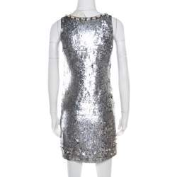 Red Valentino Silver Sequined Pearl Embellished Sleeveless Mini Shift Dress S