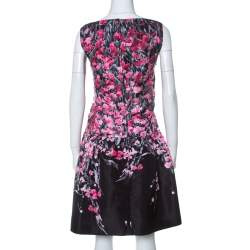 RED Valentino Black Floral Print Taffeta Pleated Waist Short Dress L