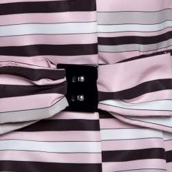 RED Valentino Pink Striped Taffeta Belted Coat M
