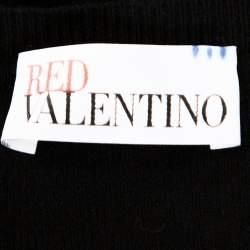 Red Valentino Black Knit Ruffled Peplum Cardigan S