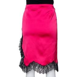 RED Valentino Pink Satin Scalloped Lace Trim Skirt M