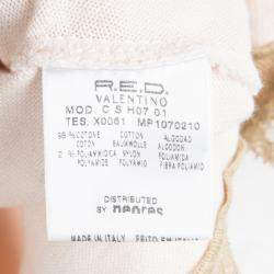 Red Valentino Baby Pink Knit Polka Dotted Top and Cropped Cardigan Set M