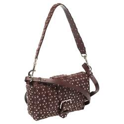 RED Valentino Burgundy Leather Flower Puzzle Crossbody Bag