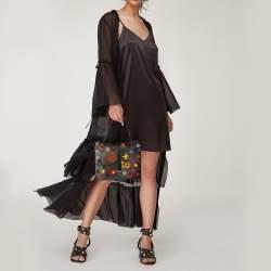 RED Valentino Black Leather and Floral Suede Shoulder Bag