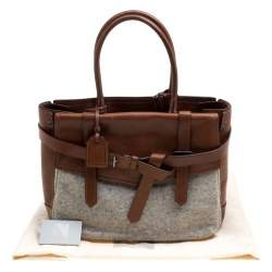Reed Krakoff Brown/Grey Leather and Wool Gator Boxer II Duffle Bag