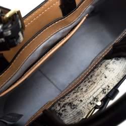 Reed Krakoff Black/White Snakeskin Effect Leather Gator Boxer Tote