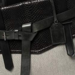 Reed Krakoff Black Leather, Canvas and Snakeskin Gator Boxer II Tote