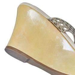 René Caovilla Beige Crystal Embellished Laser Cut Suede Wedge Slides Size 40