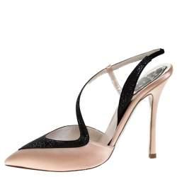 René Caovilla Blush Pink/Black Satin Pointed Toe Slingback Pumps Size 38
