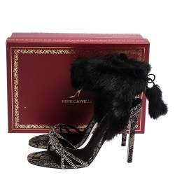 René Caovilla Black Fur And Crystal Embellished Ankle Cuff Sandals Size 39
