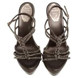 René Caovilla Metallic Crystal Embellished Satin Platform Ankle Strap Sandals Size 38