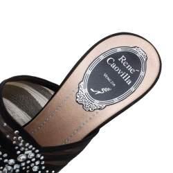 Rene Caovilla Black Chiffon Crystal Embellished Slide Sandals Size 37