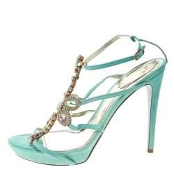 René Caovilla Mint Blue Suede Crystal Embellished Strappy Sandals Size 40