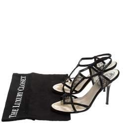 René Caovilla Black Lace And Satin Crystal Embellished Open Toe Slingback Sandals Size 37