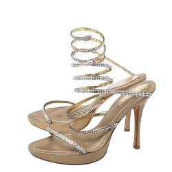 Rene Caovilla Metallic Gold Crystal Embellished Ankle Wrap Sandals Size 38