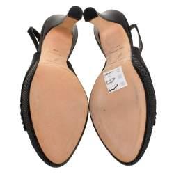 Renè Caovilla Black Pleated Satin Slingback Embellished Platform Sandals Size 39