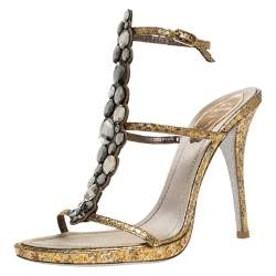 René Caovilla Gold Python Effect Leather Crystal Embellished Ankle Strap Sandals Size 38
