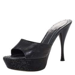 Rene Caovilla Black Python Embossed Leather Crystal Embellished Platform Slide Sandals Size 37.5