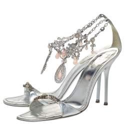 René Caovilla Metallic Silver Leather Embellished Anklet Open Toe Sandals Size 40