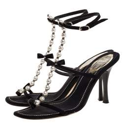 Rene Caovilla Black Canvas Pearl T Strap Sandals Size 37